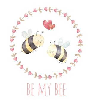 Пара влюбленных пчел, милая открытка на день святого валентина, акварель
