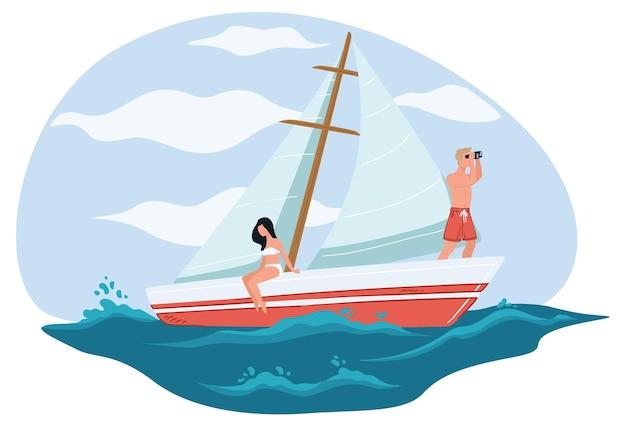 海辺でリラックスした彼氏と彼女のカップル。ヨットやクルーズの金持ち、2人用のヨット。夏休みと休暇で休む。双眼鏡を持った少年。海の旅、フラットスタイルのベクトル