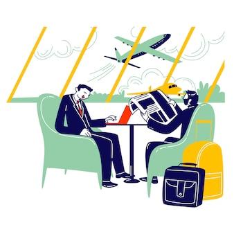 空港ビジネスラウンジに座っているビジネスマンのキャラクターのカップルがフライトを待ちます。
