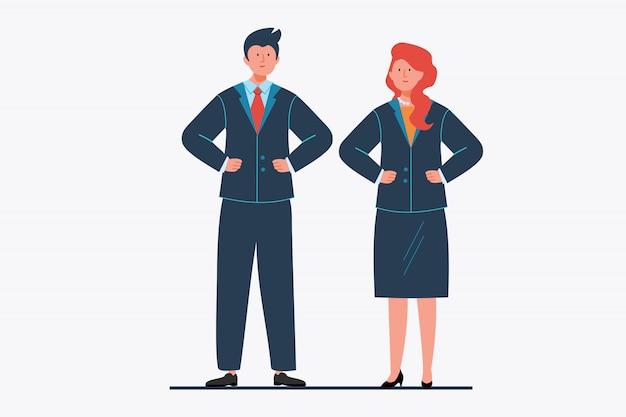 オフィススーツのビジネスマンのカップル
