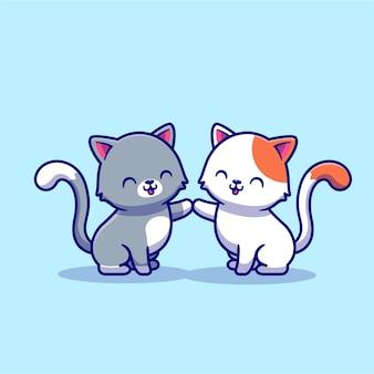 猫の漫画のキャラクターのカップル。動物愛が分離されました。