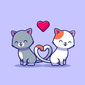 猫漫画イラストのカップル