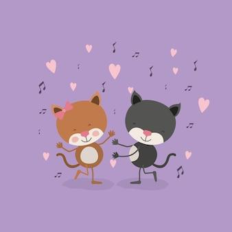 Пара кошек, танцующих в любви