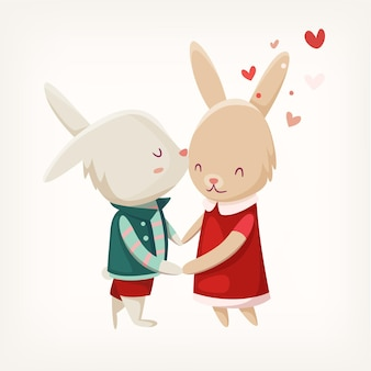 귀여운 토끼 그림의 커플입니다.