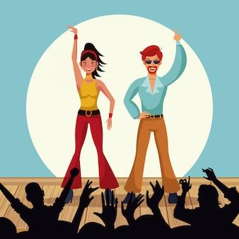 Пара танцоров дискотеки векторных иллюстраций графический дизайн