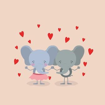 Пара слонов, держась за руки в любви