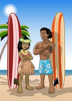 ハワイアンサーファーの男の子と女の子のカップル