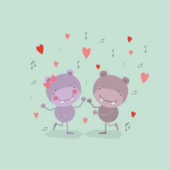 Пара гиппопотамов, танцующих в любви