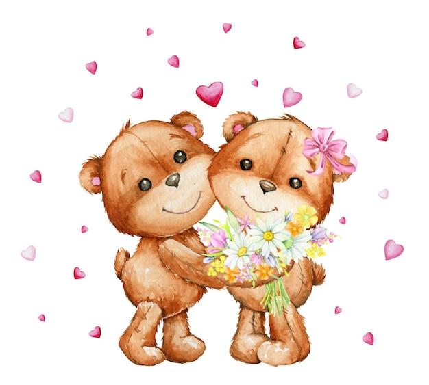 Пара обнимающихся плюшевых мишек с букетом цветов