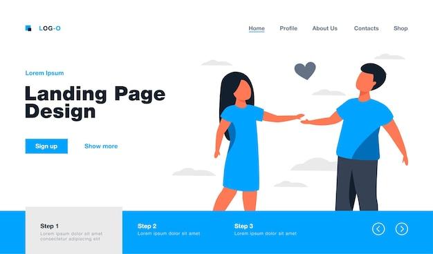 Пара детей, встречающихся на открытом воздухе. дети, взявшись за руки, в форме красного сердца. плоский рисунок. детство, романтика, концепция дружбы, дизайн веб-сайта или целевая веб-страница