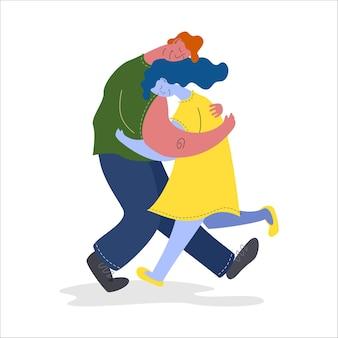恋人のカップルはお互いを抱きしめます