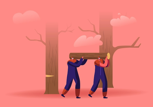 Пара рабочих-лесорубов несут тяжелые деревянные бревна на плечах в лесу. мультфильм плоский иллюстрация