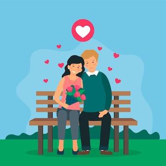 Пара мужских и женских персонажей сидят на скамейке в парке.