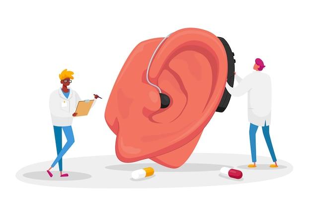 巨大な患者の耳に補聴器を装着する男性医師のキャラクターのカップル。難聴の医学的健康問題、耳鼻咽喉科医学、難聴の病気の概念。漫画の人々