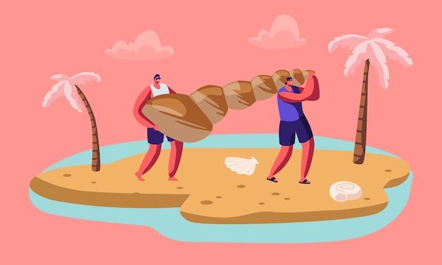 남성 관광 캐릭터의 커플은 모래 열 대 해변에서 거대한 조개를 운반합니다.