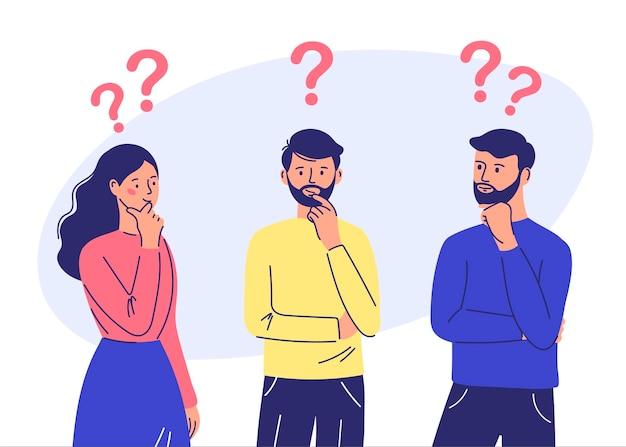 Пара мужчина и женщина, имеющие вопрос мужские и женские персонажи, стоящие в задумчивой позе