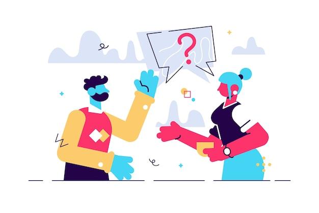 質問をしている男性と女性のカップル