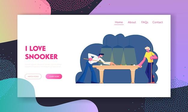 Пара мужчин играет в снукер на целевой странице веб-сайта green table