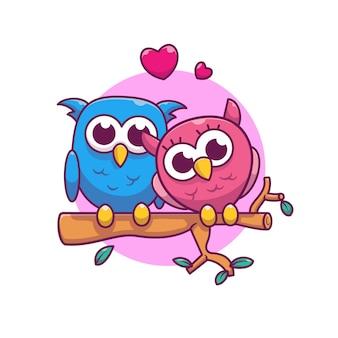 フクロウのカップルが恋に落ちるベクトルイラスト。フクロウと愛