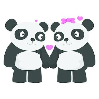 バレンタインの日にデートしているパンダのカップル