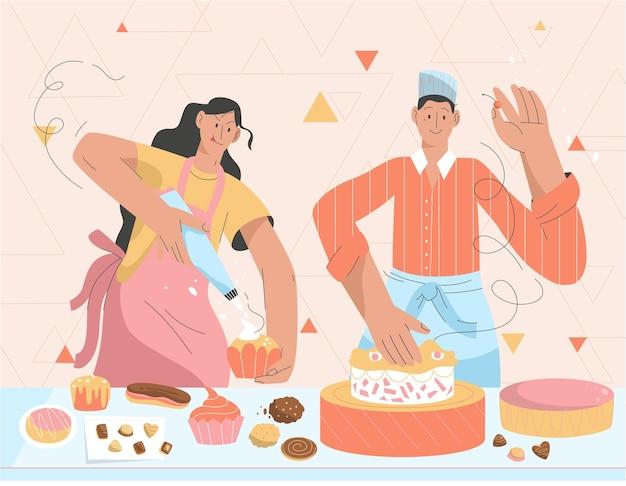 주방에서 과자를 만드는 생 과자 요리사의 커플