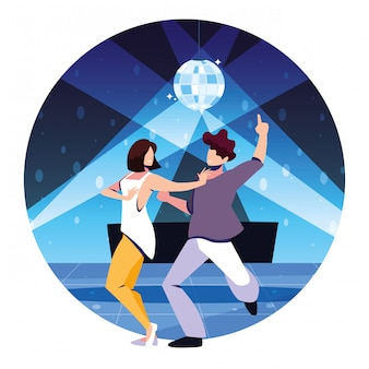 ナイトクラブ、パーティー、ダンスクラブ、音楽、ナイトライフで踊る人々のカップル