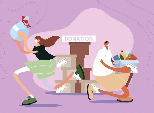 カップルの人々が慈善寄付をします