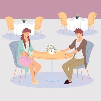 Пара людей, обедающих в ресторане, романтический ужин