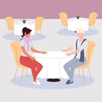 Пара человек в ресторане, романтический ужин