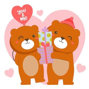 ギフトボックスで聖バレンタインを祝うロマンチックなクマのカップル
