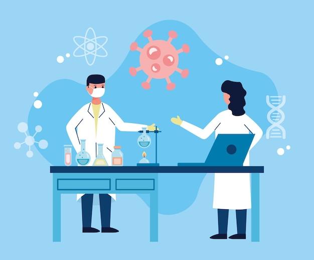 Пара ученых работает в лаборатории с исследованием вакцины на ноутбуке