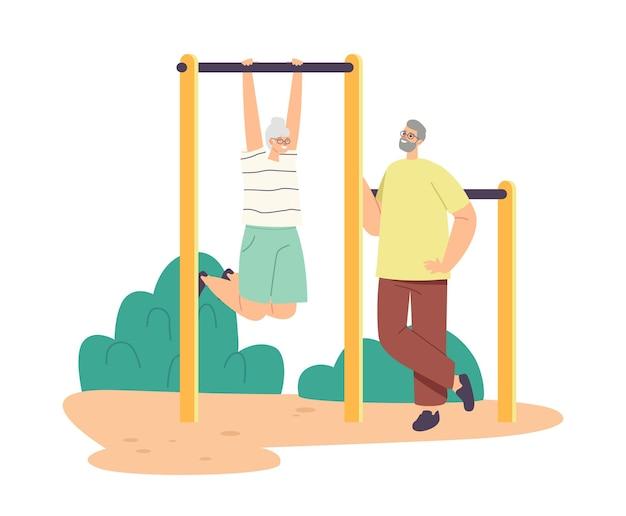 Пара старших персонажей, тренирующихся на турнике вместе, пенсионеры, делающие упражнения, активный отдых и спорт, пожилые люди развлекаются, фитнес, здоровый образ жизни. векторные иллюстрации шаржа