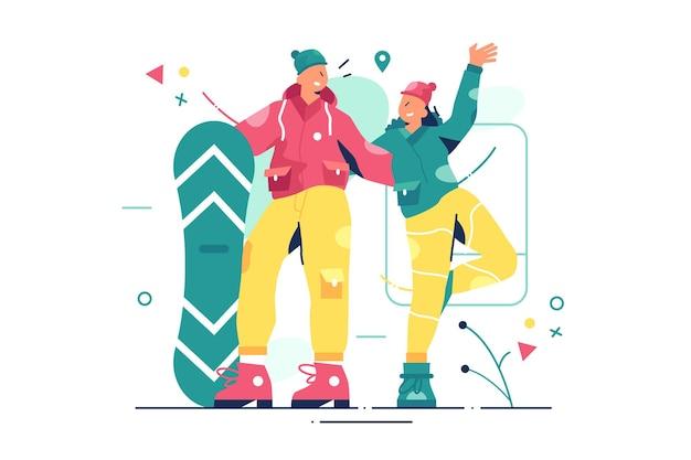 스노우 보더 포즈의 커플입니다. 남자와 여자 보드 플랫 스타일로 특별 한 정장. 재미있는 야외 활동, 스키 및 취미 개념.