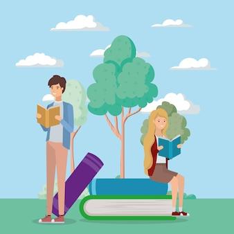 本を読む学生のカップル