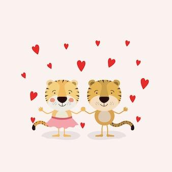 Пара тигров в любви, держась за руки в любви