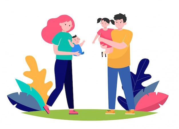 Пара усталых родителей