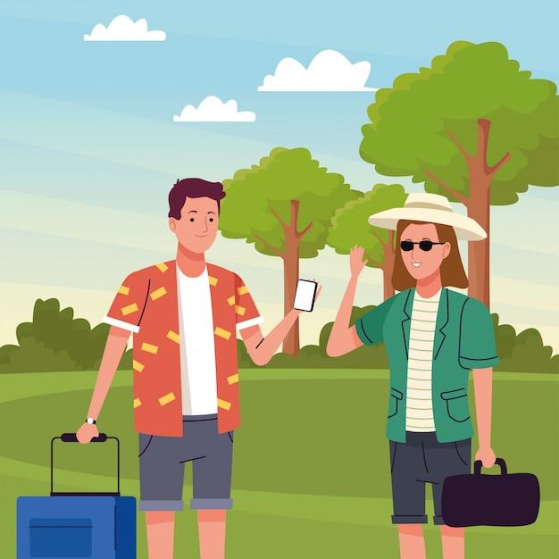 キャンプ風景で活動をしている観光客のカップル