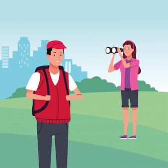 캠프 풍경에서 활동을하는 관광객의 커플