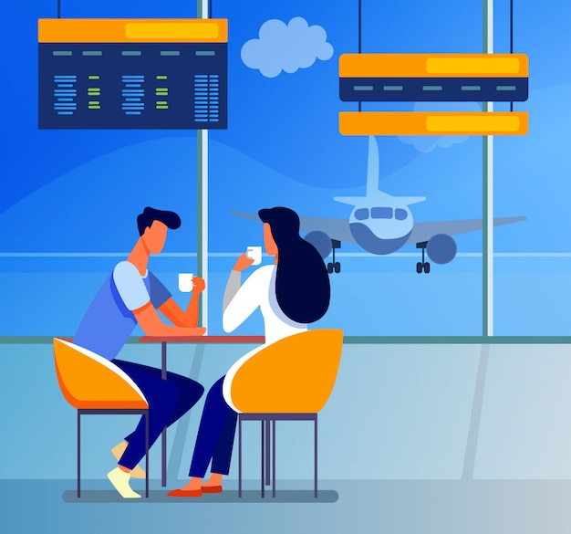공항에서 커피를 마시는 관광객의 커플
