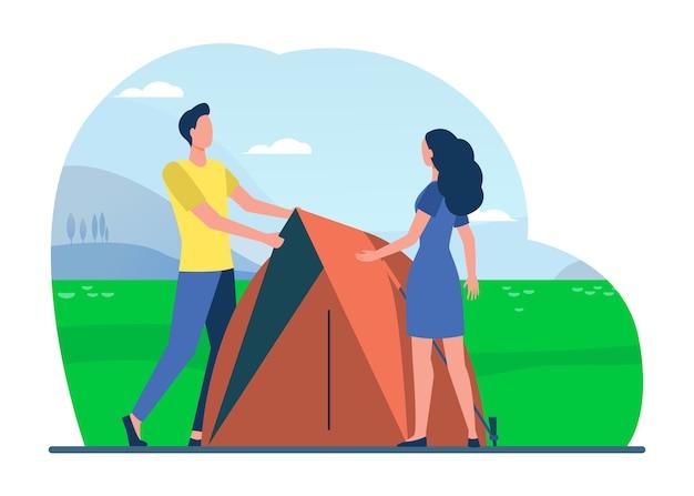 キャンプを楽しんでいる観光客のカップル。テント、自然、風景フラットイラスト