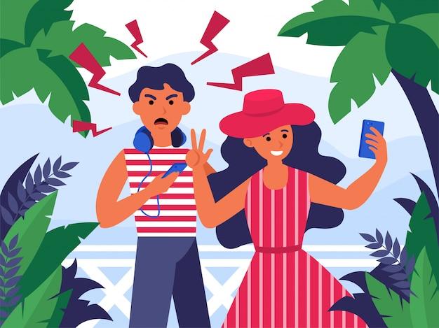 휴가에 selfie를 복용하는 관광객의 커플