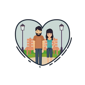 Couple of woman and man cartoon inside heart. Relationship family romance and love theme. Landscape