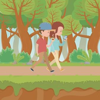 Пара женщина и мужчина мультфильм Бесплатные векторы