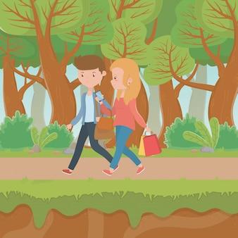 Пара женщина и мужчина мультфильм