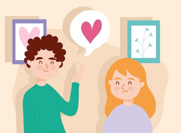 Пара женщина и мужчина с сердечным пузырем Premium векторы