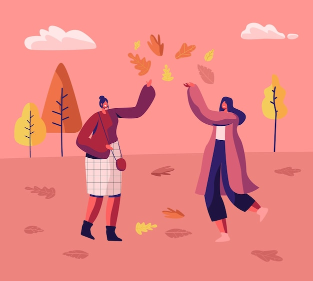 Пара женщин в осеннем парке весело гуляет, прыгает по лужам и играет с опавшими осенними листьями среди разноцветных деревьев. мультфильм плоский рисунок