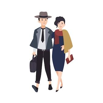 젊은 우아한 남자와 여자의 커플이 함께 걷는 저녁 착용 옷을 입고. 축제 파티에가 세련 된 멋쟁이의 쌍입니다. 평면 그림.