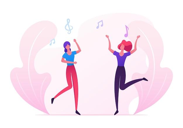 若い女の子のカップルが音楽イベントを訪問