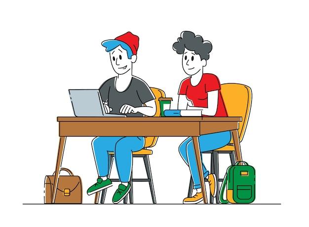 机に座っている若い男性と女性の学生キャラクターのカップル