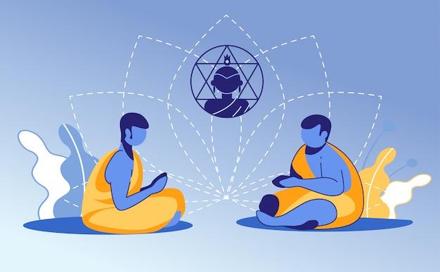 仏教のドレッシングで若い僧侶のカップルを祈る